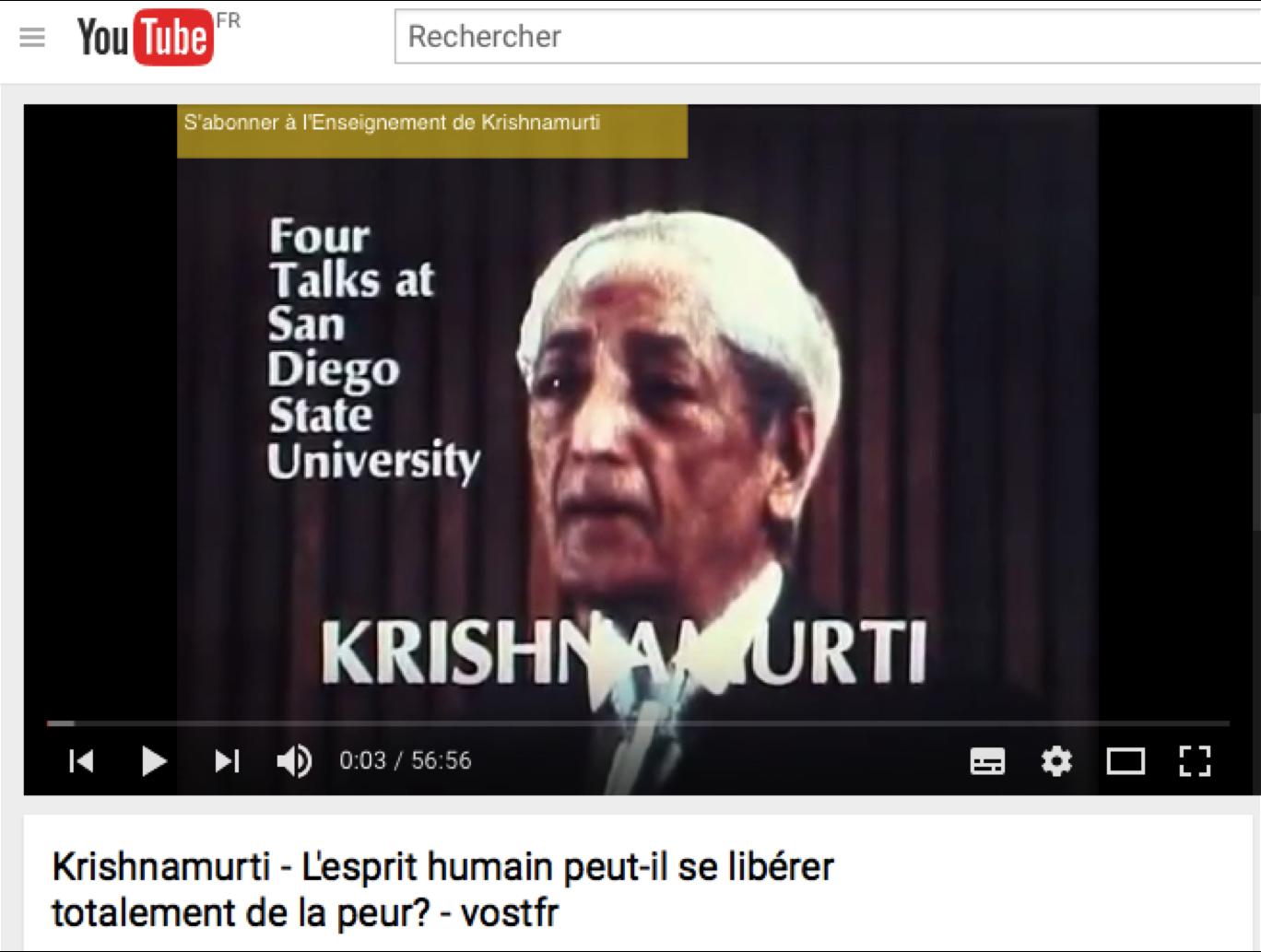Krishnamurti Peurs libération